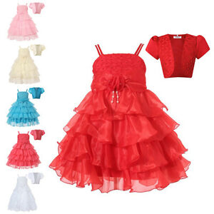 Flower Girl Kid Princess Dress Toddler Baby Wedding Party Layer Ruffle Gown+Coat