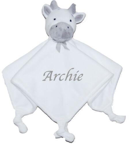 Baby Boy Girl Personalised Name Comforter Blanket Cow