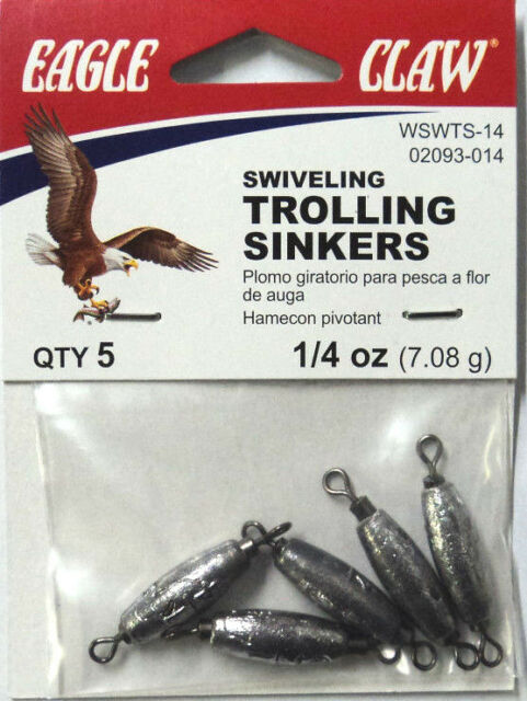 Eagle Claw In Line Trolling Sinkers 1/4 oz, TWO Packs (5 per pk) #02093-014