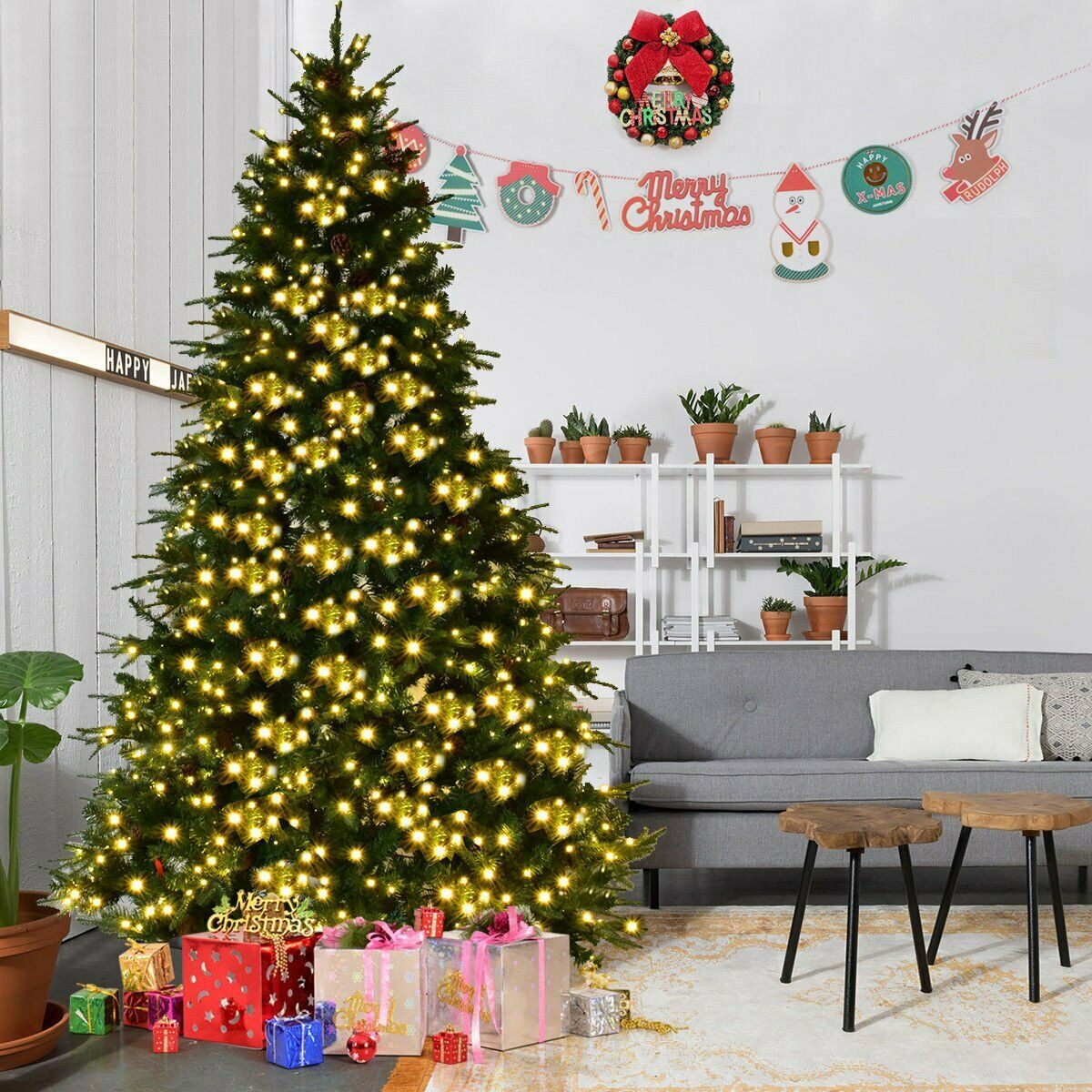 Details About 7ft Pre Lit Bushy Christmas Trees 100 Led Lights Warm White Xmas Indoor Outdoor