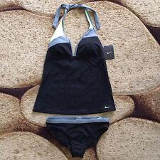 Nike Womens Two-Piece Swimsuit Tie Back Small NESS7357-001 Black Grey NWT $98.00