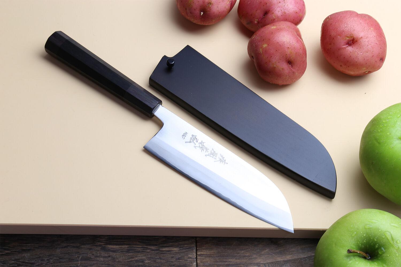 Yoshihiro High Speed Stainless Steel Santoku Multipurpose Knife Ebony Handle