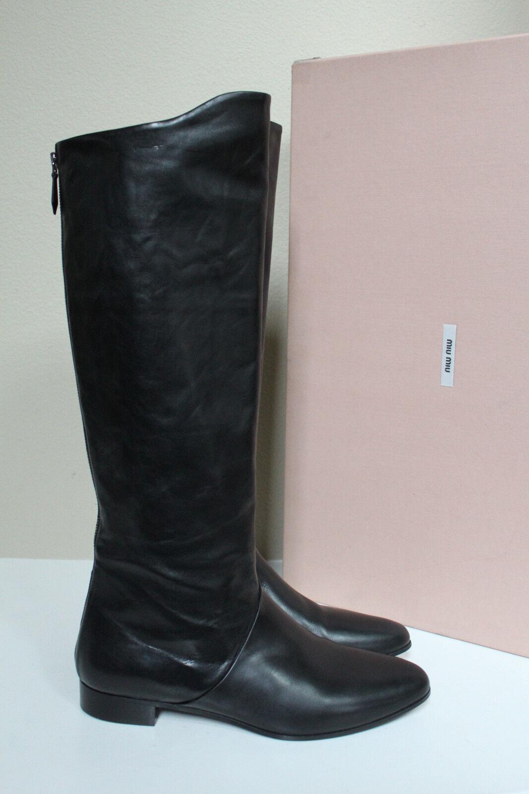 New sz 5.5 / 35.5 Miu Miu Pointed Toe Black Leather Knee High Low Heel Boot Shoe