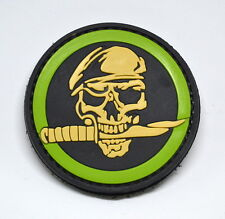 MILITARY SKULL KNIFE BERET SPEC OPS 3D PVC MORALE PATCH TACTICAL GREEN MEAN