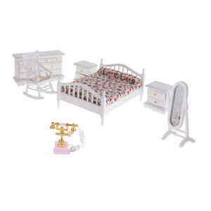 Details about 6pcs 1:12 Dollhouse Bedroom Furniture Wooden Bed Cabient  Telephone DIY Kits