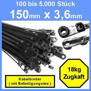 150-x-3-6-mm-Kabelbinder-mit-Befestigungsoese-100-bis-5000-Stk-Schwarz-Nylon-6-6