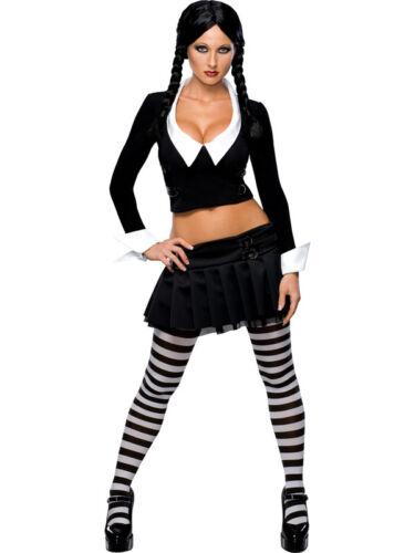 Adult Wednesday Addams Adams Family Fancy Dress Costume Ladies Female BN