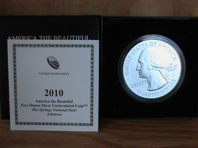 2010-P HOT SPRINGS AMERICA THE BEAUTIFUL 5 OZ SILVER COIN ** .999 PURE SILVER **