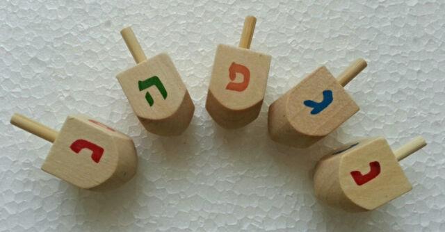 Lot 5 Holiday DREIDEL Hanukkah 4 CM Judaica Jewish Israel Gift