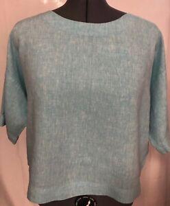 J-Jill-PureJill-Love-Linen-Aqua-Teal-Oversized-Boxy-Top-100-Linen-Size-Medium