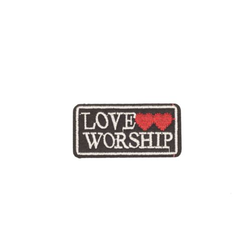 Embroidery Applique Patch Sew Iron Badge Love Worship Text Heart Iron on