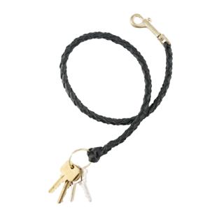 Aker A699-BP-B Black Leather Jailers Leash Key Holder w//Brass Hook /& Ring