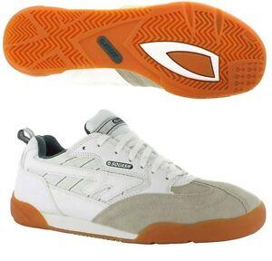 UK Shoes - Mens Hi Tec Leather Squash Trainer Classic Sports Badminton Walking Shoes S 6-14 White