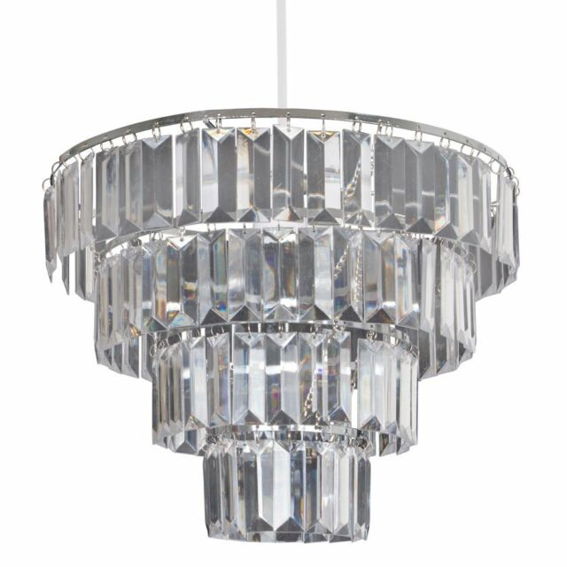 Modern 4 tier clear acrylic ceiling light easy fit shade chandelier lucia pendant lampshade modern chandelier ceiling light shade chrome clear new aloadofball Choice Image