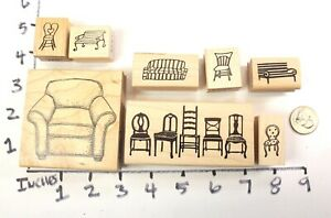Wooden-RUBBER-STAMP-Block-Lot-Furniture-Chair-Sofa-Park-Bench-Relax-Sit