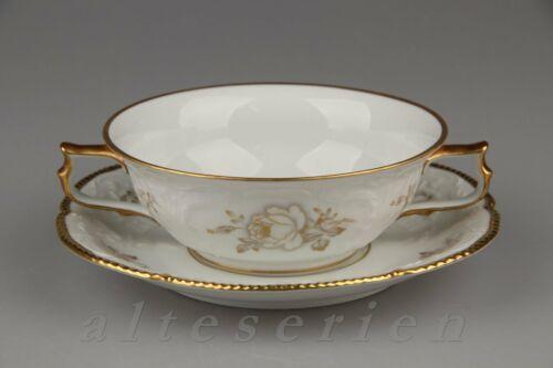 Suppentasse mit Untere Rosenthal Sanssouci  weiß Goldrose skizziert
