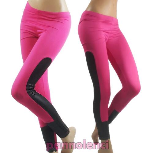 Leggings donna aderenti inserto ecopelle pantaloni skinny fantasia nuovi DL-1443