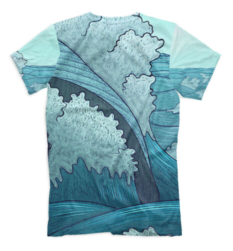 Free whale hipster style all over print cetacean sea ocean blue t-shirt wave