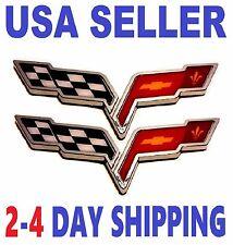 2X CORVETTE 2X PIECES Cross Flags Car CHEVROLET TRUCK EMBLEM Sign BADGE Logo *fr