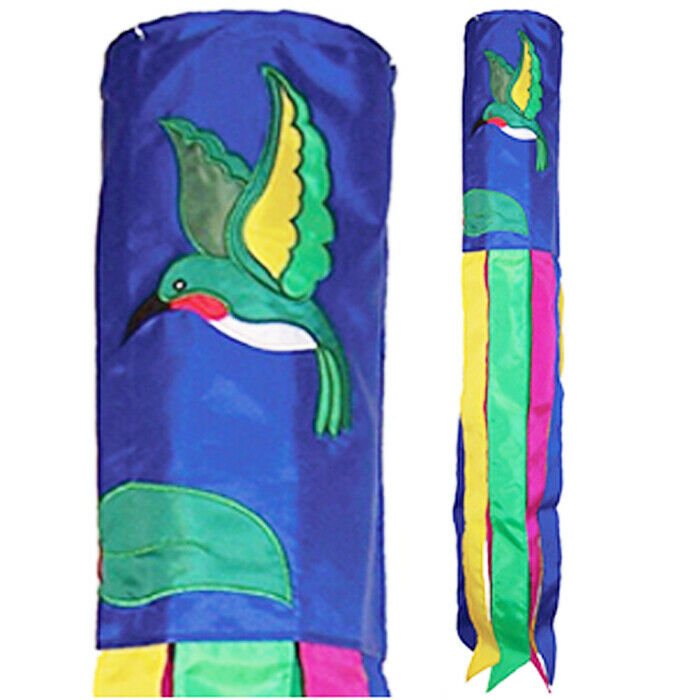 Hummingbird 40 in Applique with Embroidered Accents Windsock In The Breeze 5146