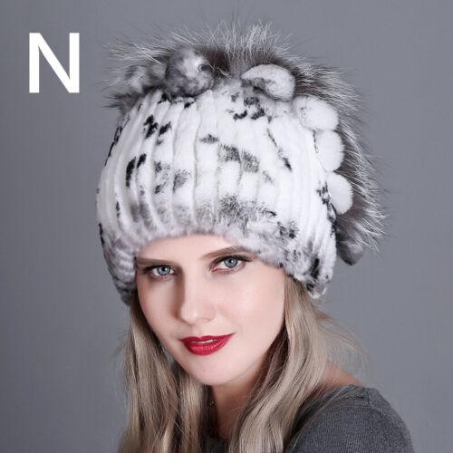 Women Winter Rex Rabbit Fur Knitted Beret Hat Cap Adult Fashion Warm Party Gift