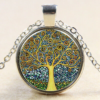VintageTree of Life Cabochon Tibetan silver Glass Chain Pendant Necklace #15