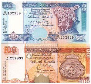 2001-50-amp-100-Rupees-Uncirculated-Banknotes-Sri-Lanka