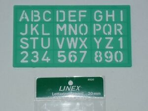 Linex Lettering Stencil 20mm trace out numbers number stencil hard poly 8520