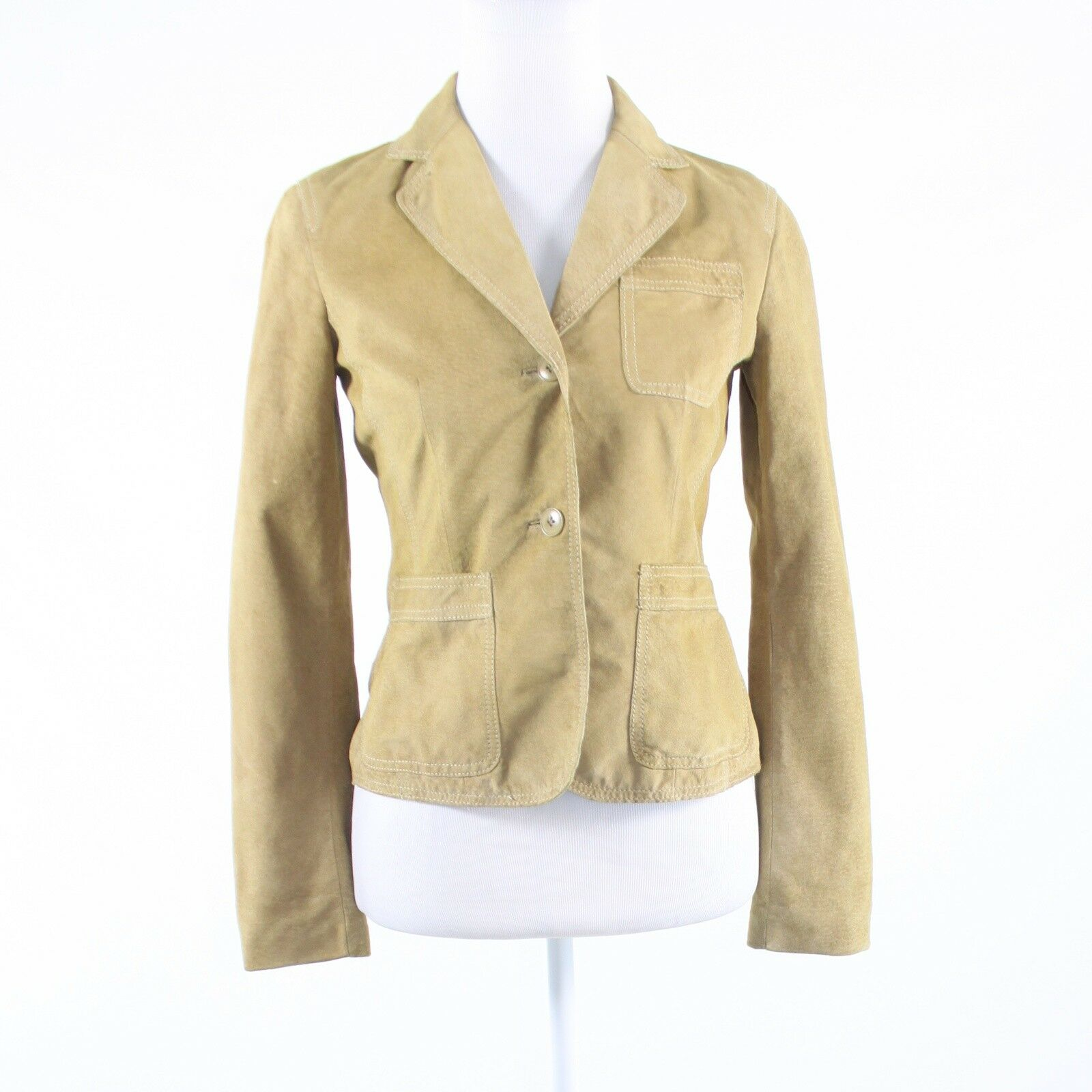 Beige suede KENNETH COLE NEW YORK long sleeve jacket XS