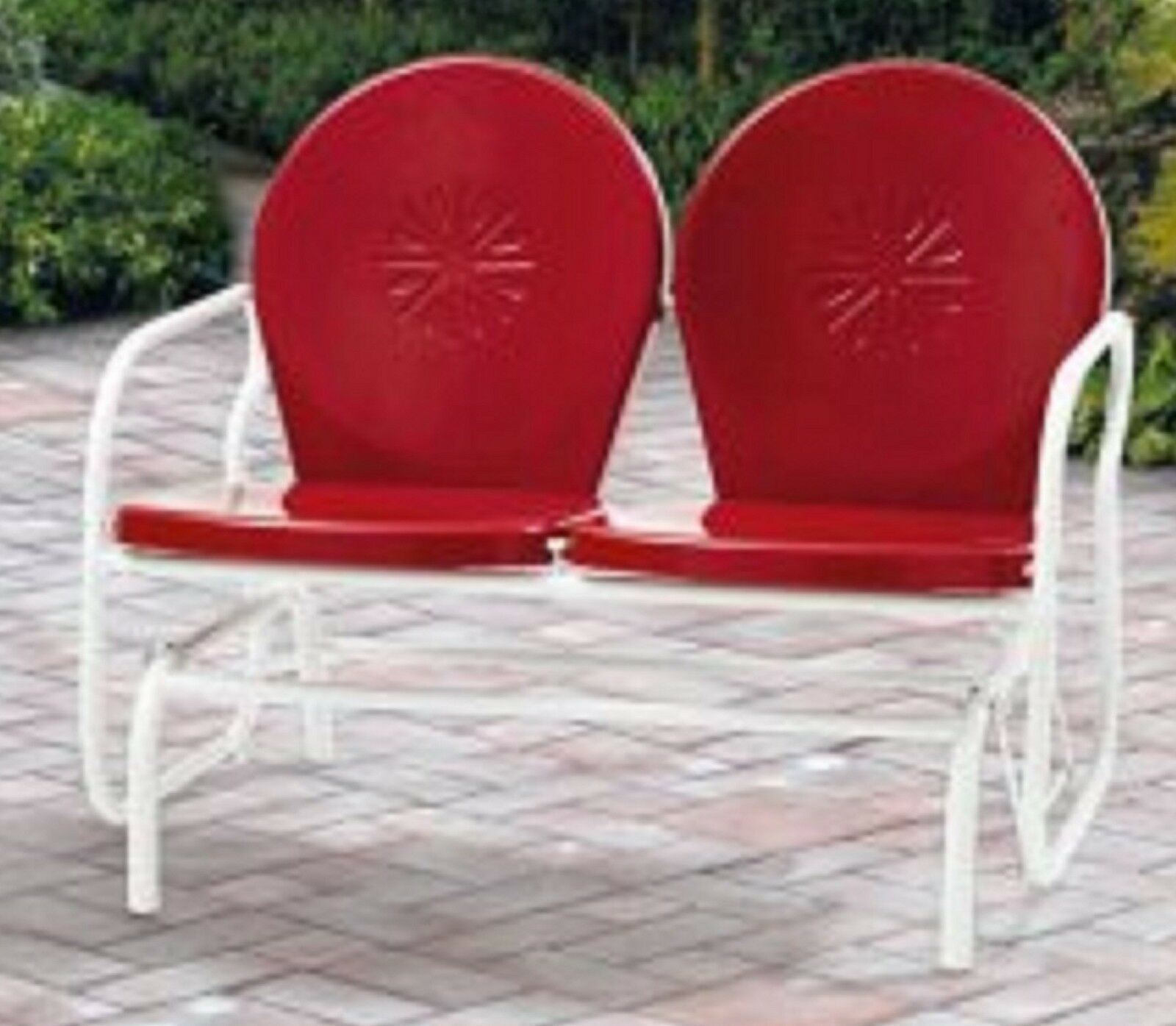 Picture of: Outdoor Patio Retro 1950 S Metal Glider Love Seat Chair Red For Sale Online Ebay