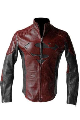 SUPERMAN uomo di acciaio /& SMALLVILLE Nero e Rosso in Pelle Giacca Scudo