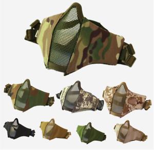 Nylon Taktisch Sicherheit Airsoft Maske Jagd Camo Halb Mesh  Gesicht Schutz