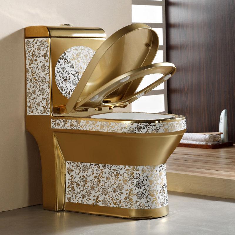 Goldene Toilette Exklusive Luxus Gold Stand WC Standtiefspülklosett Badezimmer