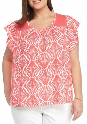 Crown & Ivy Women's Plus 1X Seashell Crochet Yoke Flutter Sleeve Knit Top Coral