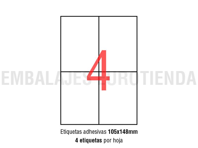 2000 ETIQUETAS ADHESIVAS 105X148 mm 500 HOJAS A4 IMPRESORA ENVIOS ETIQUETAS PC