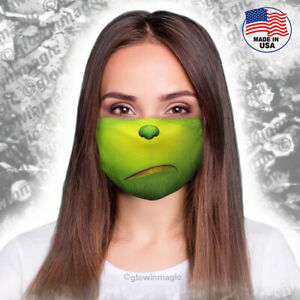 Christmas-Grinch-3D-face-mask-Adult-size-Washable-amp-Reusable-Soft-Free-shipping