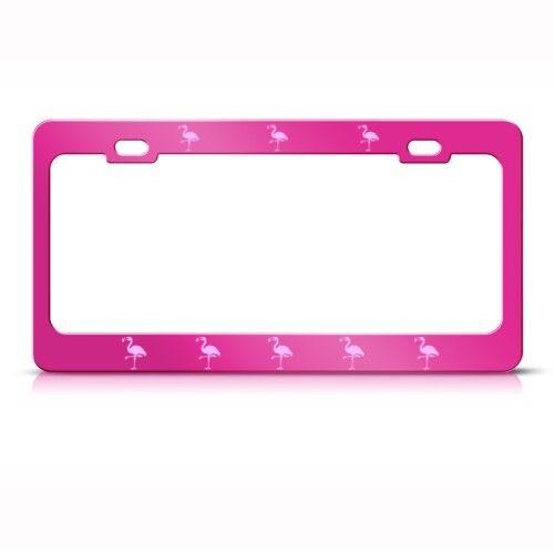 PINK FLAMINGO Metal License Plate Frame Tag Holder