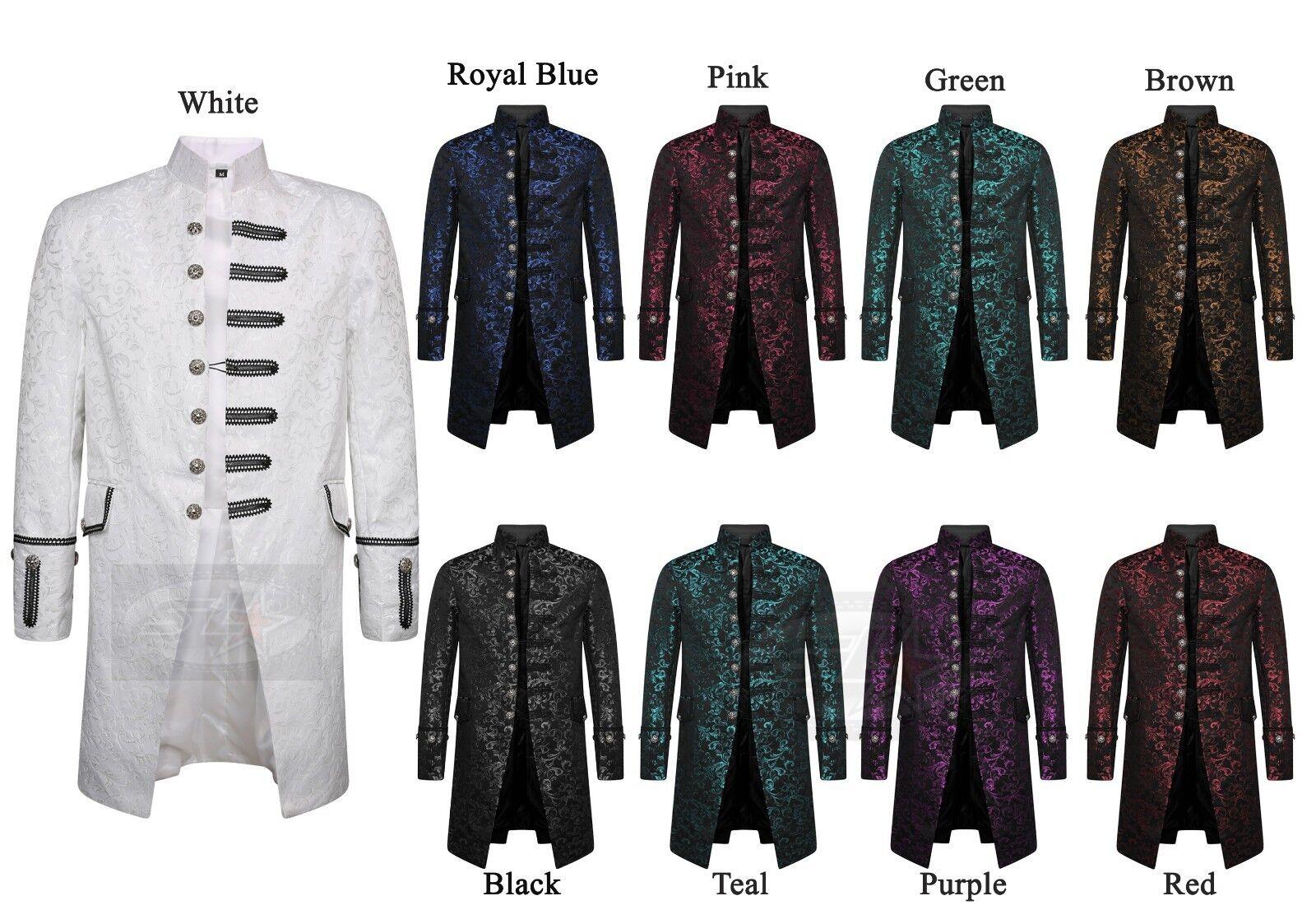 Homme fancysteampunk Gothique Queue Multi Color Veste Style Victorien G//Rouge