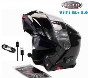 MotorradHelm-Bluetooth-Modularhelm-Klapphelm-Tourenhelm-VIPER-V171-Schwarz-M