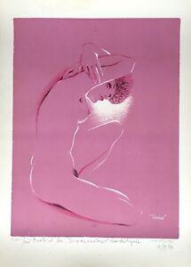 Chassard marcel-rené lithograph signed erotic nude female 1974 Barbizon paris