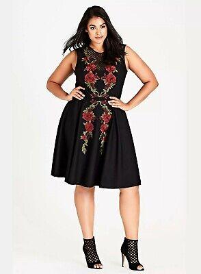 RRP $89 SIZE 16 ONLY Ex EVANS City Chic Black Peekaboo Dress
