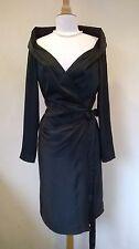 Vivienne Westwood Red Label black silk wraparound dress wide collar IT 44