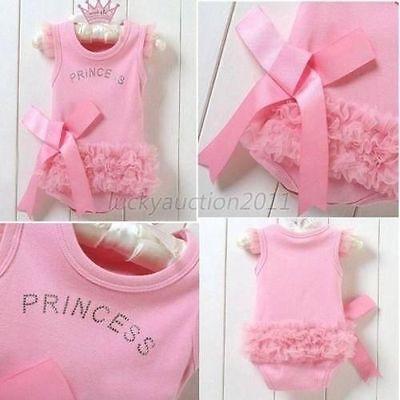 Infants Baby Girls Kids Pink Bodysuit Princess One-piece Shirt Dress Romper L83