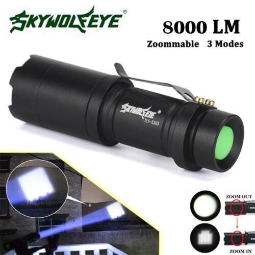 Bright 8000lm LED Tactical Flashlight Aluminium Mini Zoomable Torch X800 Light