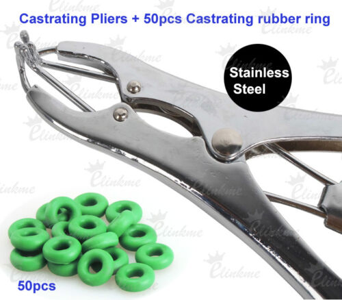 Castrating Pliers+50pcs Rubber Ring Applicator pig cow sheep plier,free shipping