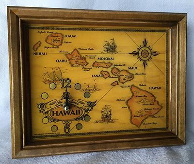 Hawaiian Islands Map Wooden Wall Clock Collectable Hawaii Gifts Aloha
