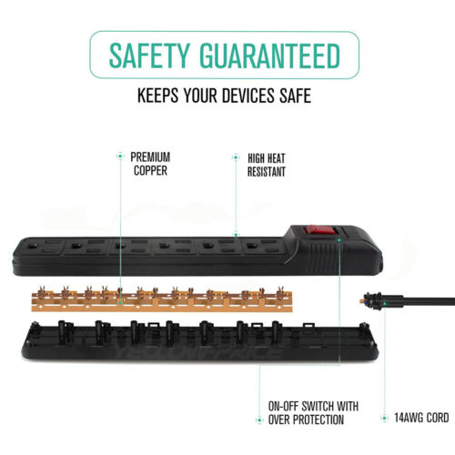 Premium Black UL Certified 6-Outlet Surge Protector Power Strip-US Local Seller