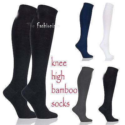 2 Pairs Womens Girls Plain Fashion Bamboo Knee High Kids School Socks All Size