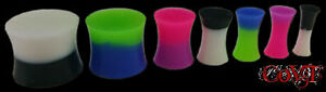 Pair-8g-5-8-034-Dual-Color-Silicone-Solid-Plugs-Double-Flare-Gauges-Tunnels-Multi