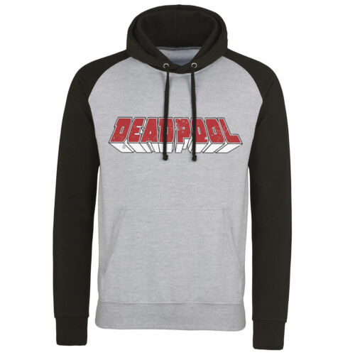 Officially Licensed Deadpool Distressed Logo Baseball Hoodie S-XXL Sizes
